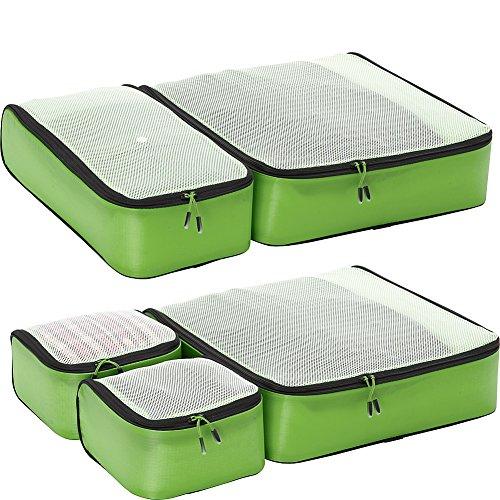 eBags Hyper-Lite Travel Packing Cubes - Lightweight Organizers - Super Packer 5pc Set - (Green)