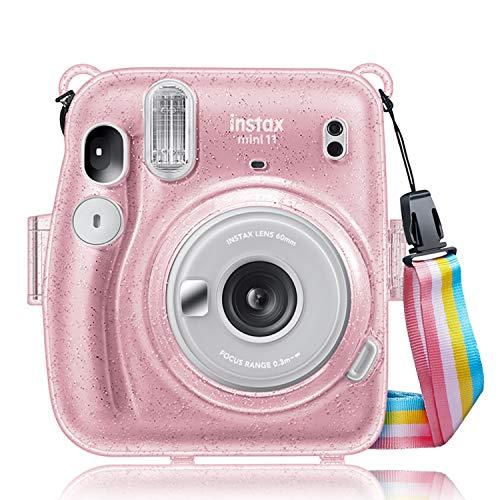CaseBot Tasche für Fujifilm Instax Mini 11 Sofortbildkamera - Transparent Hart PVC Schutzhülle Reise Kameratasche Hülle Abdeckung mit abnehmbaren Riemen, Schimmernd Rosa