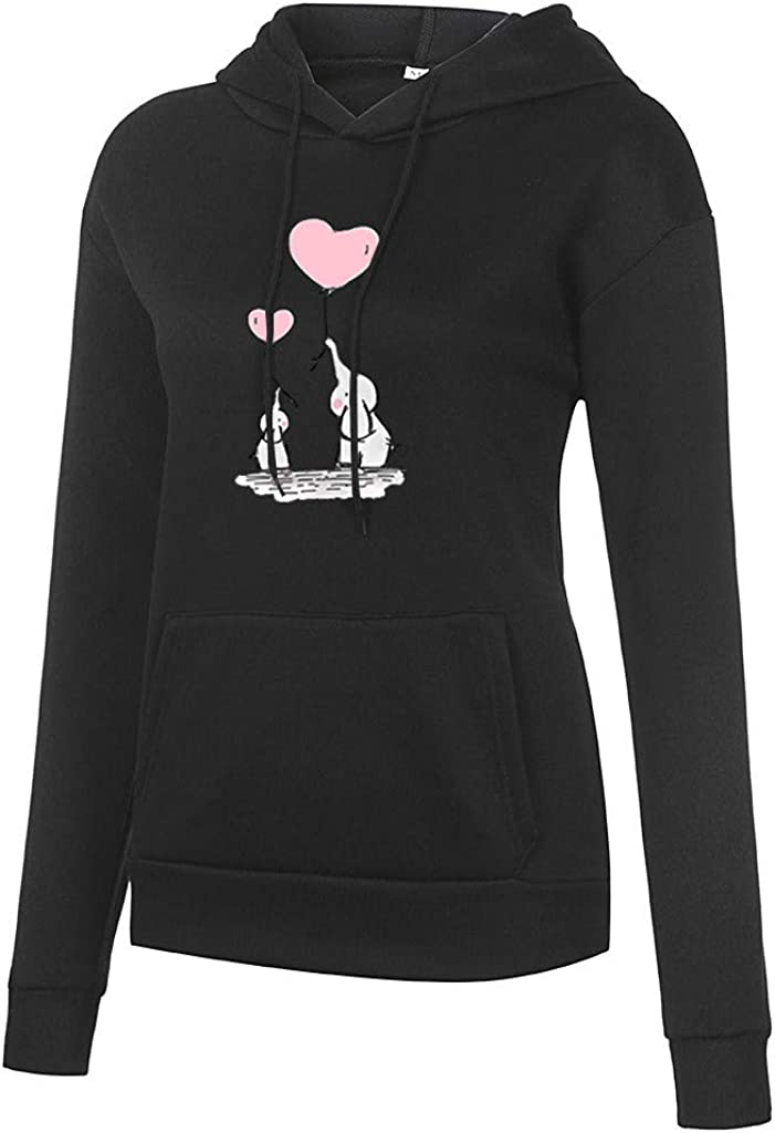 Women's Casual Long Sleeve Pullover Hoodies Elephant Love Print Drawstring Tops Sweatshirt