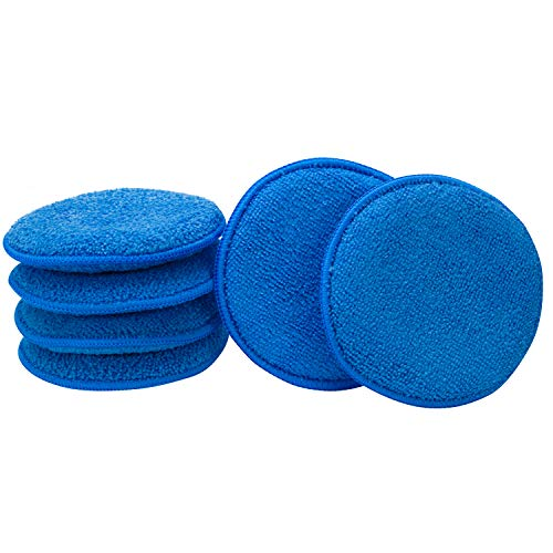 VIKING Microfiber Car and Tire Wax Applicator Pads and Cleaning Pads - Royal Blue, 5 in. Diameter, 6 Pack