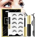 Reusable Magnetic Eyelashes With Eyeliner Kit, Upgraded 3D 5 Style Magnetic Eyeliner Eyelashes Kit With Tweezers Inside, No Glue Needed, Natural Look