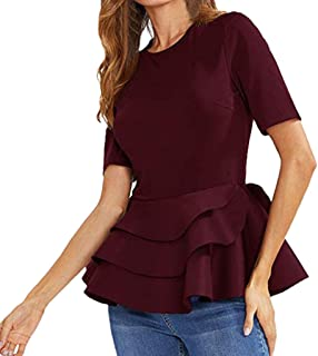 ba38e25da5 NREALY Tops Womens Short Sleeve Vintage Layered Ruffle Hem Fit Solid Peplum Blouse  Shirt Top