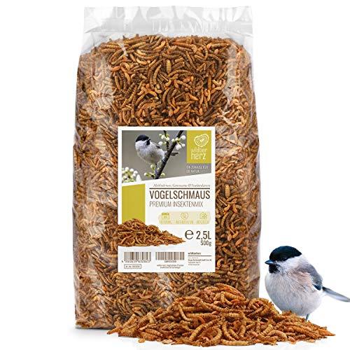 wildtier herz | Vogelschmaus - Premium-Insektenmix 2,5 Liter I Getrocknete Mehlwürmer, Insektenlarven und Gamarus für Vögel I Mehlwürmer getrocknet, Vogelfutter