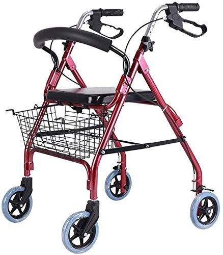 Ältere faltbaren Rollstuhl for Oma Opa GIF Folding Rollator Walker mit Sitz, Ältere Four Wheel Walkers, Rollstuhl Walker und Transport Stuhl höhenverstellbar Bremsen und Warenkorb Com