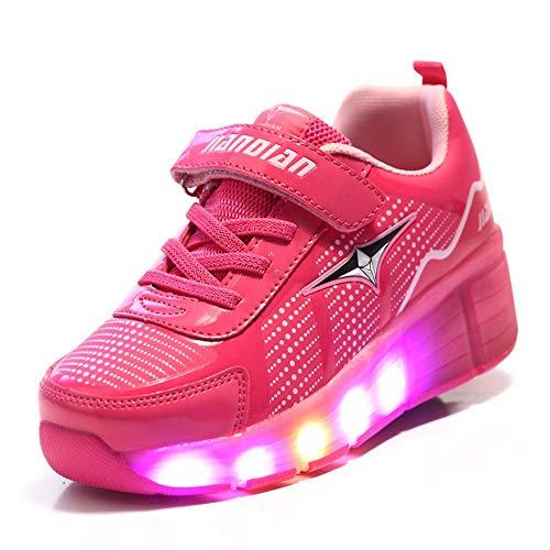 WXBYDX Jungen Mädchen Skateboard Schuhe Mit 1Rollen Kinderschuhe Mit Rollen Skate Shoes Rollen Schuhe Sportschuhe Laufschuhe Sneakers Mit Rollen Unisex Kinder,Größe (25-42) Rose red-33
