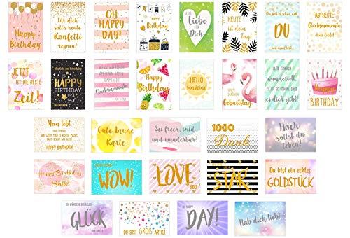 Edition Seidel Set 30 Premium Postkarten mit Gold- oder Siberprägung - Karten mit Sprüchen Spruch - Geschenkidee - Dekoidee - Liebe Freundschaft