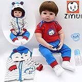 ZIYIUI Reborn Bébé Poupée Doux Vinyle de Silicone Realiste 24 Pouces 60cm Reborn Toddler Garcon Lifelike Reborn Nouveau-né Baby Dolls