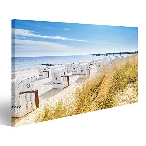 islandburner Bild Bilder auf Leinwand Blick von Einer Düne auf Strandkörbe Wandbild, Poster, Leinwandbild MRC