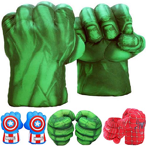 Incredible HOK Superheros Gauntlet Smash Hands Fists Big Soft Plush Gloves Pair Costume Green