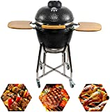 CHARAPID 19' Barbecue Charcoal Grill, Outdoor Ceramic Kamado Grill with Side Table for Camping and...