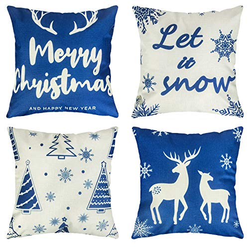 Ouddy Blue Christmas Pillow Covers 18×18 Set of 4, Winter Snowflake Elk Tree Christmas Throw Pillows, Holiday Cotton Linen Cushion Case for Sofa Couch Ornaments Blue Christmas Decorations