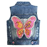 4-9Years Girl Outfit Embroidered Butterfly Sequin Denim Vest(Butterfly,7-8y)