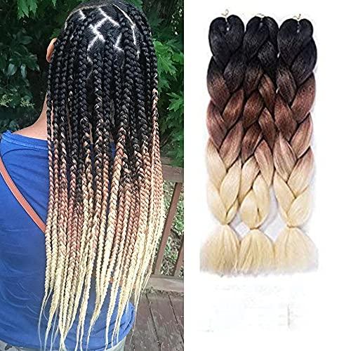 Ombre Braiding Hair Kanekalon Synthetic Hair Extensions Synthetic Fiber For Jumbo Braid Hair Bundles 24inch 5pcs/lot Ombre Black-Brown-613