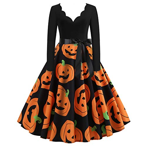 Damen Elegant Halloween Kleider Langarm Vintage Hepburn Cocktailkleid Halloween Spitze Druck Abend Party Dress Partykleid Swing Kleid Dress 1950er zur Sakko Blazer mit Pumps
