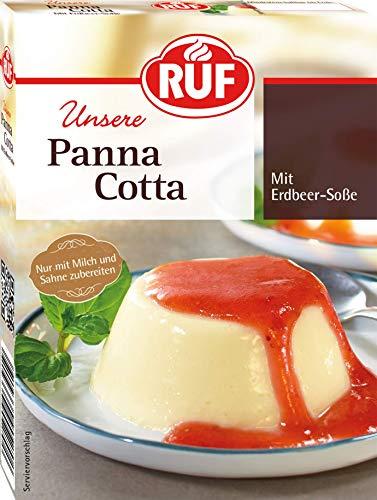 RUF Panna Cotta ohne Kochen mit Erdbeersoße, 12er Pack (12 x 110 g)
