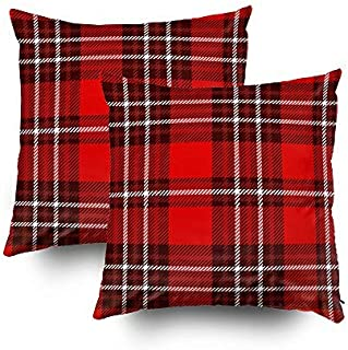 Musesh Plaid Pillow Cover,My Pillow Case Throw Pillows, 20x20 2 Pack Plaid Check Pattern Seamless Fabric Texture Print for Sofa Home Decorative Pillowcase Pillow Covers