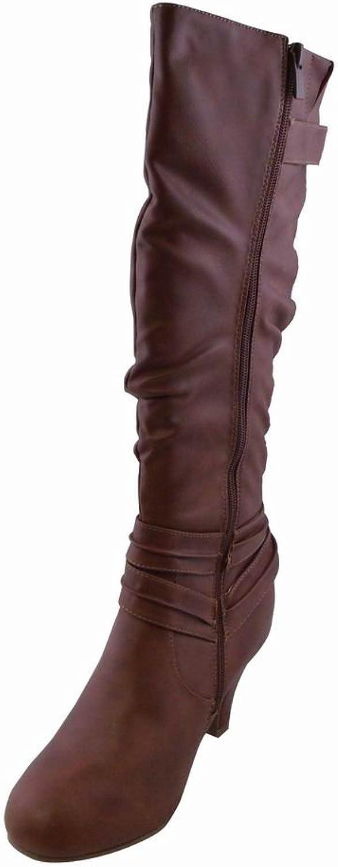 Womens Casual Dress Heeled High Boots TAN