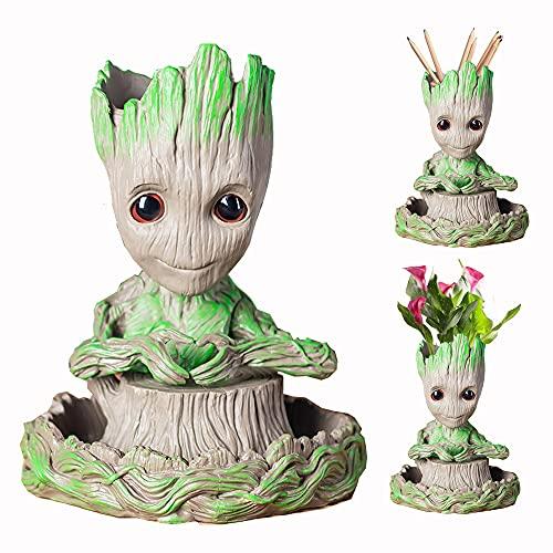 Maceta para bebé Groot, maceta de dibujos animados con agujero de drenaje, maceta creativa para interiores con bonitas plantas verdes con agujero, ideal como regalo para niños (No.3 Groot+base)