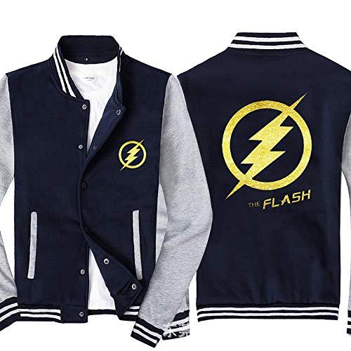COZY LS Chaqueta De La Sudadera para Hombre para El Flash Impreso Sportswear Uniforme De Béisbol Uniforme De Manga Larga Double Breasted Chaquetas - Adolescente Regalo Blue Gray-Small