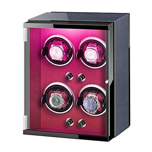 AYYEBO Enrollador Reloj para Reloj Automático Exterior Cuero Fibra Carbono con Luces Colores Almohada Reloj Flexible Motor Silencioso (Color : Brown, Size : 4+0)