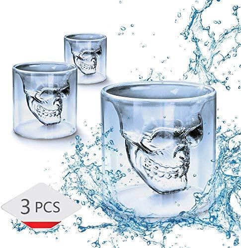WIKEA Totenkopf Schnapsglas, Kristall Weingläser, Doppelschicht transparente Schädel Piraten Schnapsgläser Trinken Cocktail Bier Tasse, kreative Halloween-Becher (75 ml x 3 Stück)