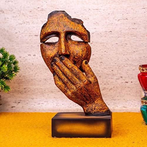 TIED RIBBONS Figura decorativa de cara humana, escultura de arte moderno, abstracto, tallada en resina, para el hogar, sala de estar, oficina y decoración (marrón, 9 x 9 x 21 cm, largo x ancho x alto)