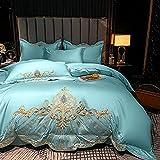 Exlcellexngce Juegos De SáBanas 105 X 190,Luxus Silber Grau Ägyptischer Baumwolle Gold Royal Stickerei Bettwäsche Set Doppel Bettbezug-Set Bett Leinen Ausgestattt Blatt Kissen-5_1,8 m de Cama (4pcs)