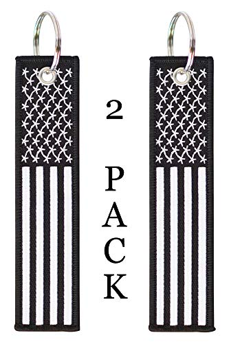 American Flag Keychain Tag with Key Ring and Carabiner - Keys, Cars, Motorcycles, Backpacks, Luggage, and Gifts - EDC (Black White)