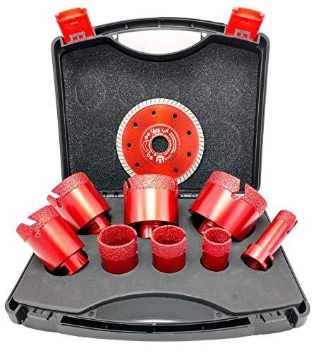 Diamant Fliesenbohrer Set Premium | 9-teilig + Diamanttrennscheibe FST 115 mm | Im Koffer | Verbesserte Segmentstruktur