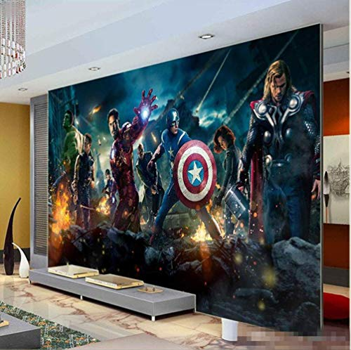 Fondo De Pantalla 3d The Avengers Photo Wallpaper Película Mural De Pared Marvel Heroes Boys Kids Girls Room Decor Dormitorio Cool Home Decoration Ancho 200 cm * Altura 200 cm