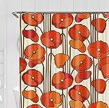 KDENDGGA Cortina De Ducha Pétalos De Color Rojo Anaranjado Cortinas De Baño A Prueba De Moho Antibacterial Lavable con Ganchos Cortinas De Baño 180 * 180 Cm