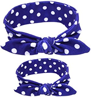 Shimmer Anna Shine Mommy and Me Matching Cotton and Spandex Stretch Headbands (Blue Polka Dot)