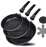DIVORY - Set di padelle 20 cm, 24 cm, 28 cm, manico rimovibile, adatto a induzione, rivestimento antiaderente, in alluminio antiaderente, padella alta + protezione per padelle