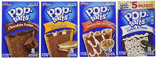Pop Tarts Frosted Variety Pack, CHOCOLATE Flavors: S'mores, Cookies and Cream, Chocolate Chip Cookie Dough, Chocolate Fudge. Bundle of 4- 8 Count Boxes, 1 of Each Flavor. Great Care Package