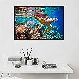 Pintura De Pintura De Tortuga De Mar Impresión Ocean Turtle Pósteres Imágenes De Arte De Pared para Baño Decoración De Niños Detalle Decoración Lienzo Impresión-40X60 Cm Sin Marco