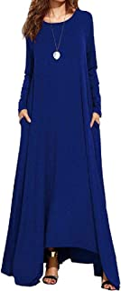 Howely Women Round Neck A-Line Long Sleeve Swing Loose Irregular Long Maxi Dress
