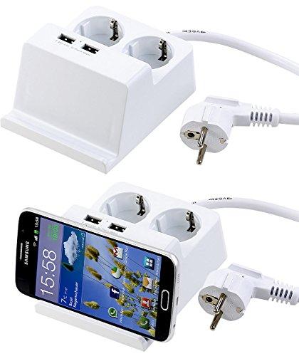 revolt Verteilerdose mit USB: Tisch-Steckdosenleiste mit 2 230-Volt-Buchsen und 2 USB-Ports, 2,5 A (Steckdose USB)