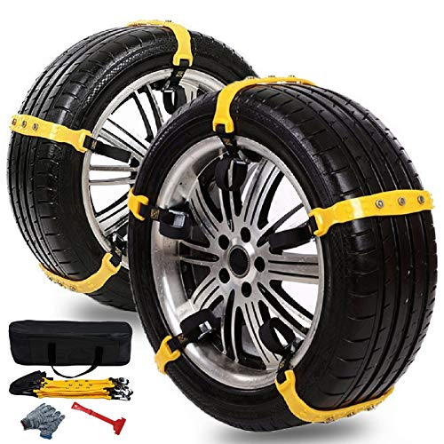 "Anti Slip Snow Chains for SUV Car Adjustable Universal Emergency Thickening Anti Skid Tire Chain,Winter Driving Security Chains,Traction Mud Chains for Tire Width 7.2-11.6"",10 Pcs (Yellow)"