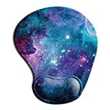 Dooke Ergonomic Mouse Pad with Wrist Support, Cute Mouse Pads with Non-Slip Rubber Base for Home Office Working Studying Easy Typing & Pain Relief Blue Purple Nebula