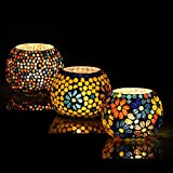 Brahmz Set of 3 Handmade Glass Mosaic Turkish Moroccan Tea Light Candle Holders (MD7)