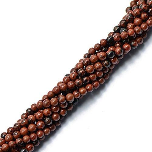 Hellery 4mm Natürlichen Roten Mahagoni Obsidian Lose Perlen 15 \'\' Round