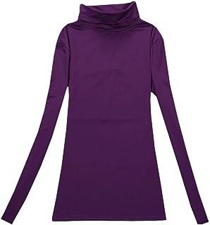 Coolred Women High Collar Solid Long Sleeve Velvet Warm Pullover T-Shirt