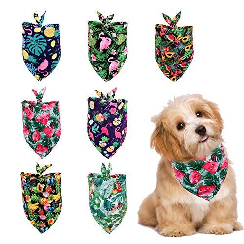 Gukasxi Pañuelos de perro para perro, bandana de verano, bufanda hawaiana, lavable, triángulo, bufanda ajustable para perros pequeños, cachorros y gatos