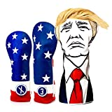 Pins & Aces Keep America GreatÊ USA Premium Driver Headcover Set - Quality Leather, Hand-Made Wood Head Covers - Style and Customize Your Golf Bag - Tour Inspired, Donald Trump Golf Design