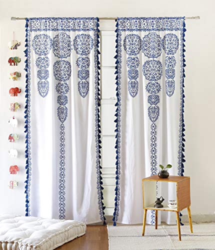 """Moroccan Medallion Floral Ombre Mandala Window Curtains Tapestry Indian Drape Balcony Room Decor Divider Sheer Wall Hanging with Pom Pom Lace (41"""" W x 87"""" L, White-Blue-Lace)"""