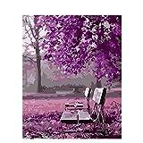 油絵 数字キットによる絵画 大人 子供と初心者 ピンクパークチェア キットによる絵画 塗り絵 手塗り DIY絵 デジタル油絵 40x50センチ (フレームレス)