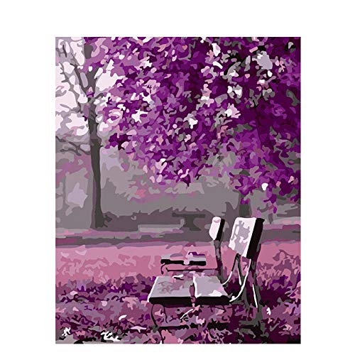 Digital Painting Painting by Numbers DIY Pink Park Chair Scenery Wall Art Picture Acrylic Painting for Wedding Decoration 40x50cm with Frame