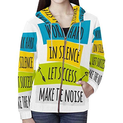 InterestPrint Women's Work Hard in Silence Let Success Make The Noise Full-Zip Hooded Jacket XXL