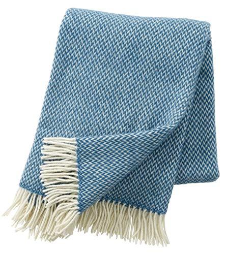 Klippan Premium: Creme-Blaue Wolldecke 'Pulse chinablue' aus 60% Merinowolle - 40% Lambswool, 130x200cm