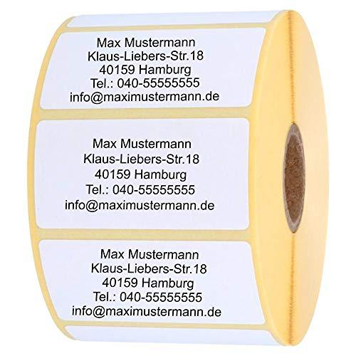 INDIGOS UG Adressetikette - Namensaufkleber - weiß - 100 Stück personalisierbar - selbstklebend - 40 x 22 mm - verschiedene Varianten
